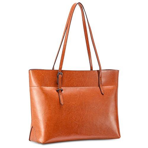 Emma Tote Bag - Kattee Vintage Genuine Leather Tote Shoulder Bag With Adjustable Handles (Light Brown)