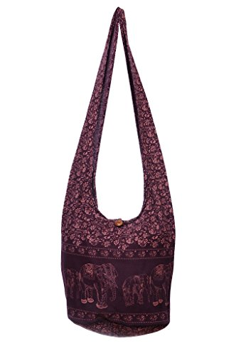 Avarada Thai Cotton Hippie Hobo Sling Crossbody Bag Messenger Purse Bohemian Print Elephant Large Deep Purple