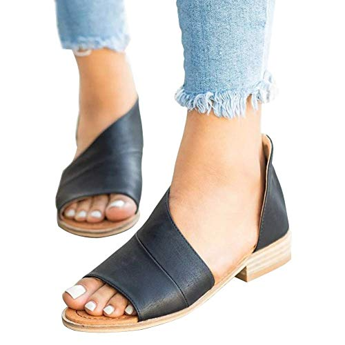 (Pursoudy Flat Sandals for Women Open Toe Slip on Fashion Summer Casual Dress Shoes Black 7.5 B (M) US)