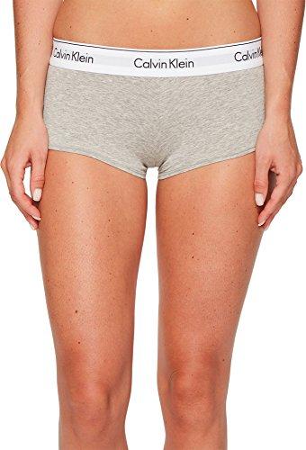 Calvin Klein Women's Regular Modern Cotton Boyshort Panty, Grey Heather, Large (Panties Cotton Boy Short)