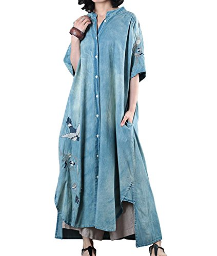 - YESNO JEB Women Fashion Long Loose Maxi Distressed Denim Trench Casual Embroidered Jacket Coat Button-Down Ripped Short Sleeve Pocket