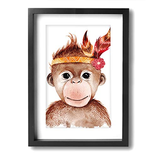 SRuhqu Canvas Wall Art Prints Watercolor Monkey Portrait Cute Boho -Photo Paintings Contemporary Home Decoration Giclee Artwork-Wood Frame Ready to Hang Colorado Portrait Picture Frame