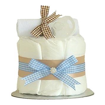 Kleine Schönheit Blau Beige Single Kontingent Baby Boy Windeltorte/Windel  Kuchen/Baby Windel Kuchen