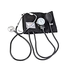 Sphygmomanometer Arm Blood Pressure Monitor Traditional Manual Pulse Rate Monitoring Upper Arm Blood Pressure Monitor for All Ages Black