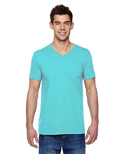 Fruit of the Loom Men's Shoulder Taping V-Neck T-Shirt, Scuba Blue, XX-Large