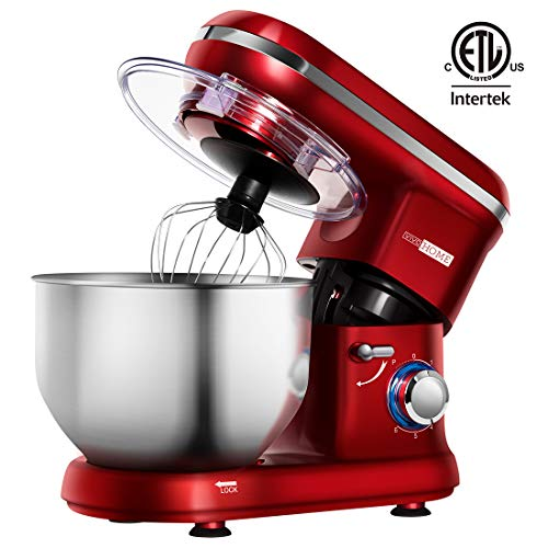 - VIVOHOME Electric 650W 6-Speed Tilt-Head Stand Mixer with 6 Quart Stainless Bowl Red ETL Listed