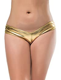 Womens Shiny Metallic Wet Look Lingerie G-String Leather Underwear Thong