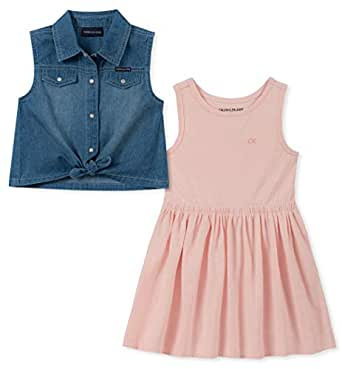 Calvin Klein Girls' Toddler 2 Pieces Dress Set, Denim/Rose, 3T