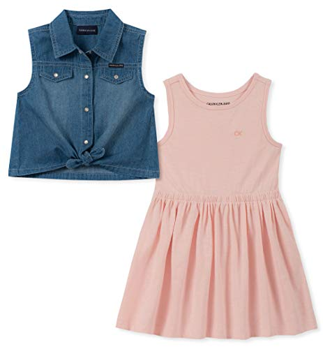 Dress Up As A Girl For Halloween (Calvin Klein Girls' Toddler 2 Pieces Dress Set, Denim/Rose,)