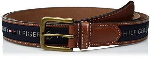 Tommy Hilfiger Men's Ribbon Inlay Belt - Ribbon Fabric Design with Single Prong Buckle, Navy, 38