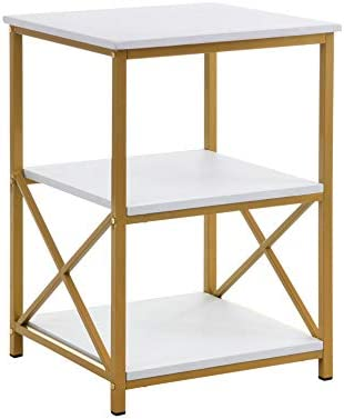 RAAMZO White and Gold Finish Metal Frame X-Design Chair Side End Table Nightstand with 3-Tier Shelf