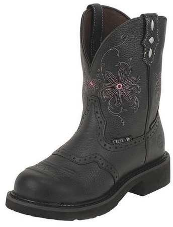 Justin Original Workboots Women's WKL9982 8-Inch EH ST WP Black Pebble Grain W/Saddle 11 (Justin Saddle)