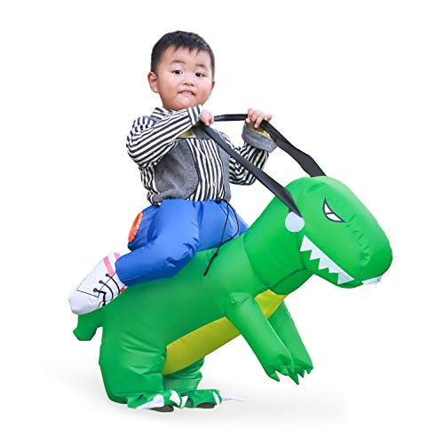 Linsion T-Rex Costume Inflatable Dinosaur Suit Halloween Dino Theme Party Dress Blow Up Costume Adult/Child (Child Green) -