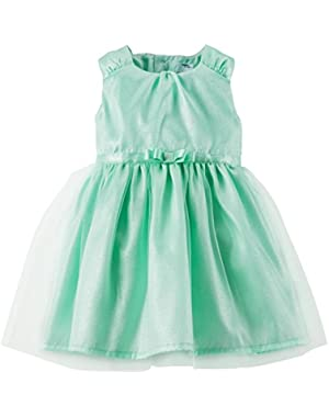 Satin Dress w/ Diaper Cover (Baby) - Mint-3 Months