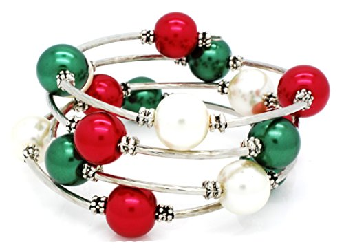 Memory Wire Wrap Bracelet - Faux Pearl - Rhodium Plated - Red Green Cream ()