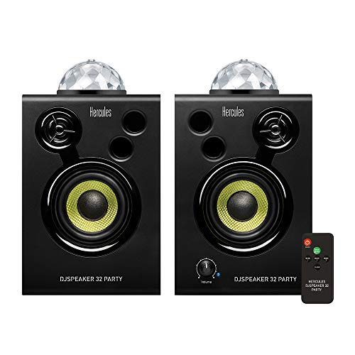 Hercules DJSpeaker 32 Party: 2 x 15 watt actieve monitorspeakers met ingebouwde verlichting