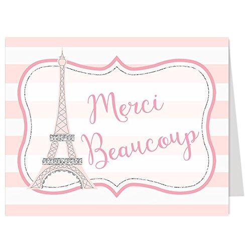 Thank You Cards, Paris, Eiffel Tower, French, France, Baby Shower, Bridal, Wedding, Teacher, Pink, Silver, Stripes, Glitter, Sparkle, Bebe, Merci Beaucoup, 50 Folding Notes & Envelopes, Oh La La