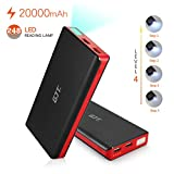 GJT® 20000mah Power Bank 4 LED Light Backup External Battery Portable Charger Dual USB Port for Apple iPhone 6 plus6, 5S 5C 5 4, iPad Air Mini 2, HTC One, One 2 (M8), Samsung Galaxy S6 S5 S4 S3, Tab 4 3 2 Nexus 10, MOTO, LG Smartphones & Tablets