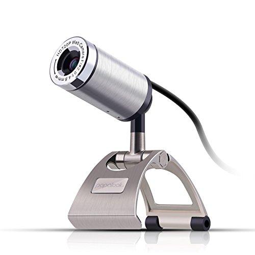 Webcam 720P, PAPALOOK PA150 Web Kamera HD 16:9 High Definition mit eingebautem Mikrofon für PC, USB Computer Kamera für Skype Internet Chat, Plug & Play Web Cam Breitbild Videoaufzeichnung für Laptop Desktop, kompatibel mit Windows 7 / 8 / 10