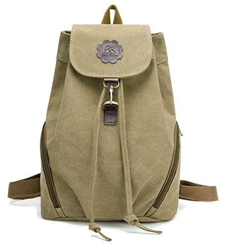 Tom Clovers Canvas Backpack Retro Style Travel Satchel School Work Bag Brown