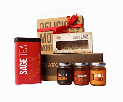 Yoffi Delicious Gift Basket - Organic Sage Tea & Holy Land Pure Honey Collection