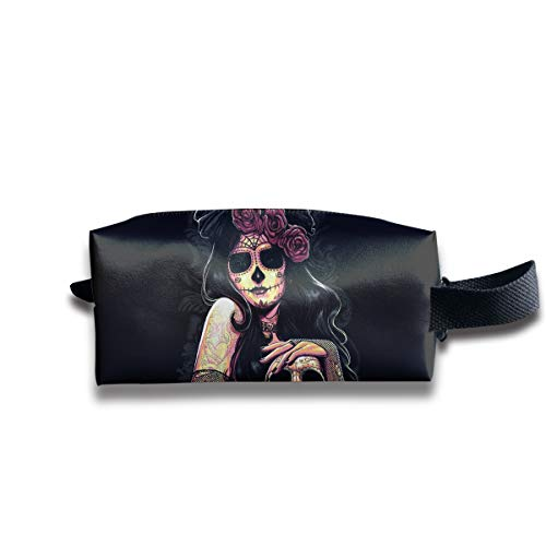 Durable Zipper Storage Bag Makeup Handbag Flower Skull Queen Toiletry Bag With Wrist Band -