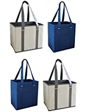 Reusable Grocery Shopping Box Bags with Reinforced Sides and Bottom, Stand Up Design, Heavy Duty Strong Deluxe Tote Collapsible Foldable Color Choice 2 Pack, 3 Pack, 4 Pack, 6 Pack or 12 Pack
