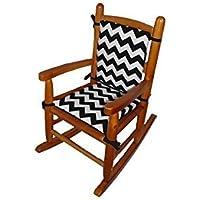 Baby Doll Bedding Chevron Junior Rocking Chair Pad, Black