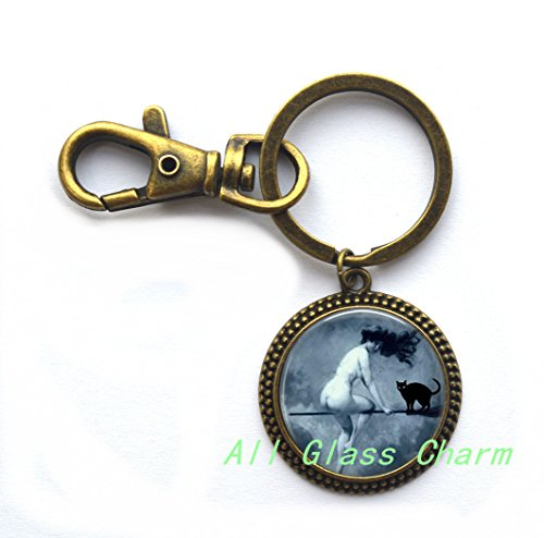 Beautiful Keychain,Halloween Key Ring - Victorian Nude Witch Riding a Broom - Witch and Black Cat - Nude Witch Keychain - Halloween Costume Jewelry - Sexy Witch,AS0161