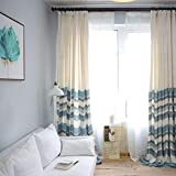 Cotton Linen Curtain Cloth Half Shade Living Room Floor Window Flat Window Finished Stripe Curtain up and Down Stitching (Size : 2 * 2.6m)