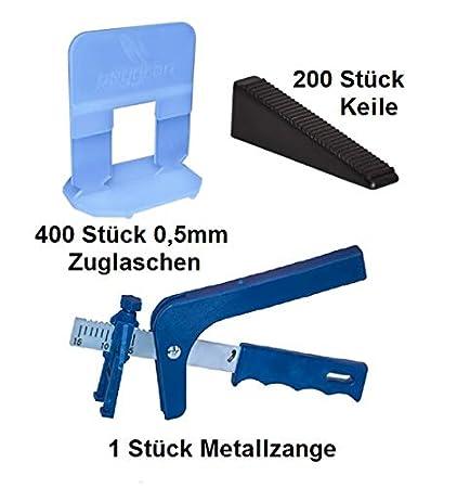 Sistema de nivelación 0,5 mm 400 laschen 200 cuñas + Metal Alicate ...