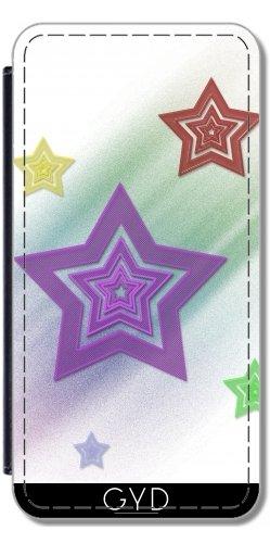 Leder Flip Case Tasche Hülle für Apple Iphone 7 / Iphone 8 - Bunte Sterne by Digital-Art