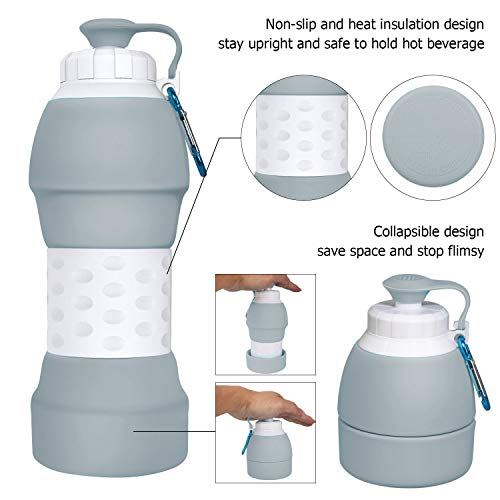 Collapsible Water Bottle, Foldable Leak-proof Silicone Kettle, Portable 580ml Lightweight BPA Free Eco-Friendly Reusable Drinking Bottles for Travelling,Camping,Hiking,Walking,Running