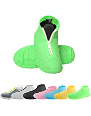 CHUHUAYUAN Waterproof Silicone Shoe Covers, Reusable Foldable Not-Slip Rain Shoe Covers with Zipper,Shoe Protectors Overshoes Rain Galoshes for Kids,Men and Women(1 Pair)