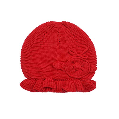 Beanie Kids Red (LLmoway Kids Beanie Hat Toddler Girl Knit Hat Soft Cotton Crochet Skull Cap, Red, 1-Ply, 2T-4T)