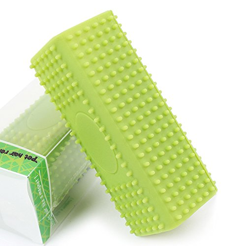 Suicazon Pet Hair Remover Hollow Rubber Car Furniture Carpet Clothes Sofa Cleaner Brush, Green