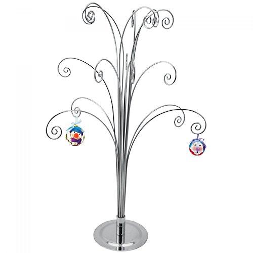 HOHIYA Metal Christmas Ornament Display Tree Stand 20inch(Silver)