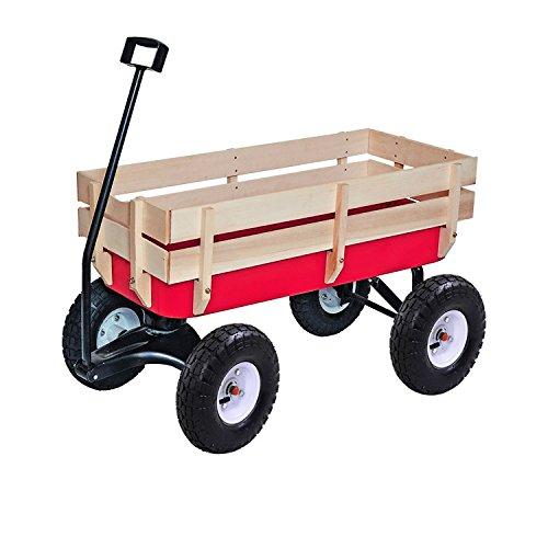 ALEKO TC4201 Kids Wood and Steel Wagon All Terrain Pulling Play Cart Children Wagon Stroller, Red