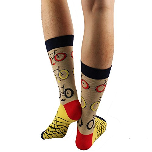Men's Everday Novelty Bicycles Cycling Trouser Dressy Casual Comfy Socks Beige by SK Hat shop (Image #3)