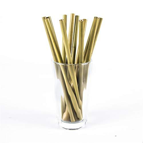Juego de 12 pajitas de bambú reutilizables con cepillo para polvo de limpieza y bolsa de almacenamiento, respetuoso con el medio ambiente, biodegradable, pajita de plástico, alternativa para niños y adultos, 12 piezas