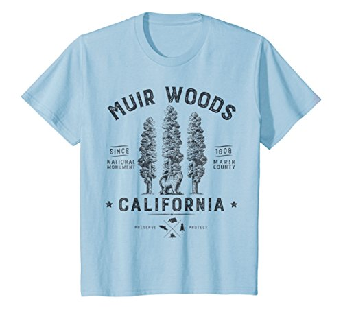 Kids Muir Woods National Monument T Shirt California Redwood Park 6 Baby Blue (Redwood Parka)