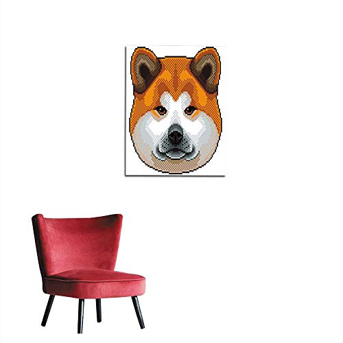 - longbuyer Wall Sticker Decals Pixel Akita Inu Dog Portrait Isolated Vector Mural 32