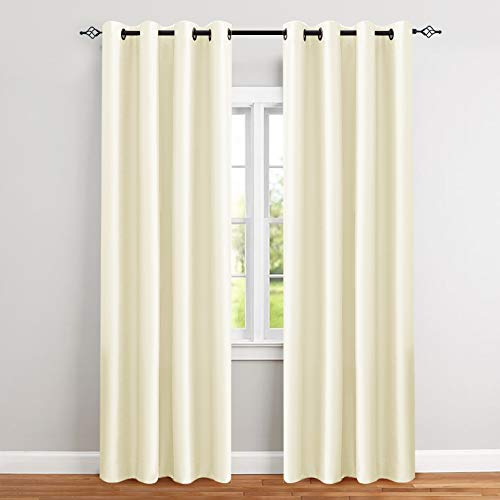 Faux Silk Curtains for Bedroom 84 inches Long Grommet Top Dupioni Light Reducing Window Curtain Panels for Living Room Satin Drapes Privacy Window Treatments, Ivory, 2 Panels
