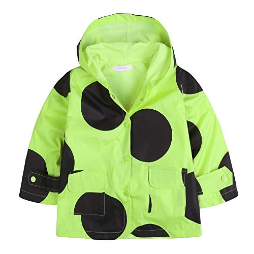 Zaclotre Kids Boys & Girls Rain Jacket Raincoat with Hoodie Waterproof Outwear Olive Green