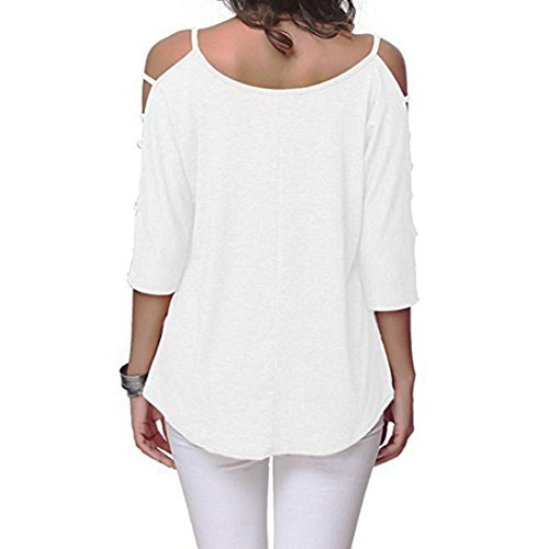 T HUI Chemise Hauts HUI Shirt Blouse Tunique Casual Manches Rond paule Shirt Femme 3 Strappy Col Nu 4 Fille Tee Froide paule Blanc Mode vider Tops 5dggq
