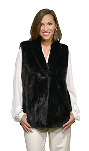 Mink Fur Vest with Shawl Collar(Mahogany,L)