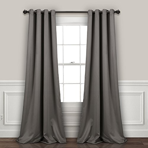 Lush Decor Curtains-Grommet Panel with with Insulated Blackout Lining, Room Darkening Window Set (Pair), 120' L, Dark Gray