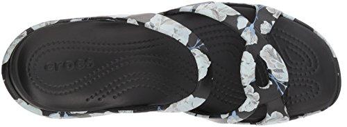 Graphic black Rose Sandal Meleen Twist Women Flat Crocs XagZq7