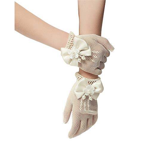 Glove Sheer Girls - Unilove Flower Girl's Lace Bowknot Net Voile Wedding Gloves Princess Glove(Ivory)