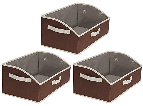 Storage Bins, Fabric storage Baskets, Foldable Closet Organizer Trapezoid Storage Box By StorageWorks, Polyester Canvas, Espresso, EX-Jumbo, 3-Pack - Canvas Closet Organizers